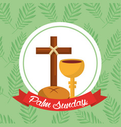 palm sunday bread cross cup ribbon green vector image