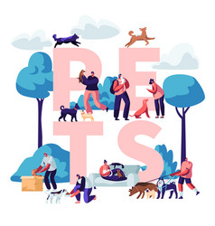 people and pets concept male female characters vector image
