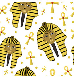 Pharaoh seamless pattern ancient egyptian king vector
