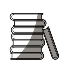 pile books encyclopedia learn shadow line vector image