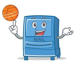 playing basketball mailbox character cartoon style vector image