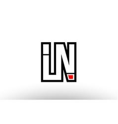 red and black alphabet letter ln l n logo vector image
