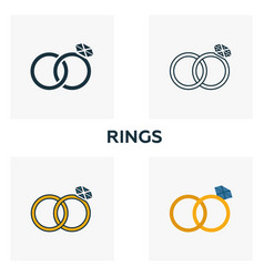 rings icon set four elements in diferent styles vector image