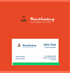 rose logo design with business card template vector image