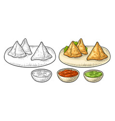 Samosa on board with sauces in bowl color vector