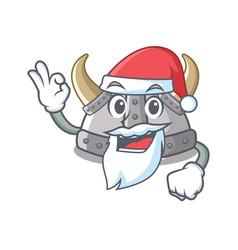 Santa viking helmet in a cartoon vector