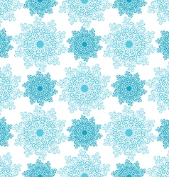 seamless pattern of blue snowflakes vector image
