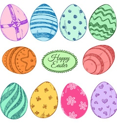 set colorful easter eggs icons vector image