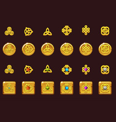 set icons celtic symbols with gems vector image