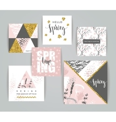 Set of artistic creative spring cards vector image