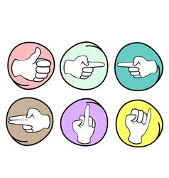 Set of Different Hand Signs on Round Background vector image