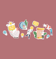 Set stickers interesting facts theme vector