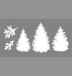 Silhouettes christmas trees and branches vector