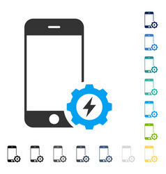 smartphone power options gear icon vector image