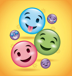 Smiles emoji smiling tongue out and happy faces vector