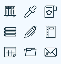 stationery icons line style set with bookmark vector image