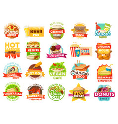 street food menu icons vector image