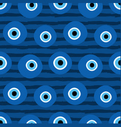 Striped pattern with turkish blue evil eye amulets vector