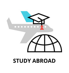 Study abroad icon flat thin line vector