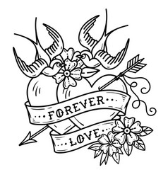 Tattoo two hearts pierced by arrow forever love vector