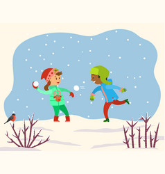 Two children playing snowballs in park or forest vector