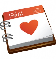 Valentines calendar with a heart vector