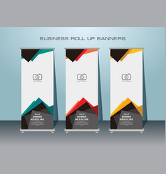 Vertical banner roll up banner template design vector