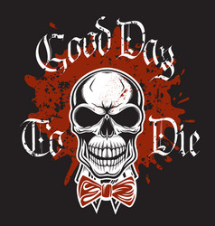 vintage print for t-shirts with smiling skull vector image