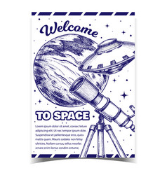 welcome to space cosmos advertising banner vector image