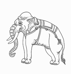 White elephanttraditional thai art vector image