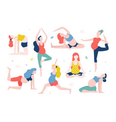 yoga for pregnant women flat vector image vector image