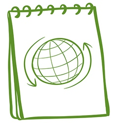 A green notebook with a drawing of a globe at the vector image