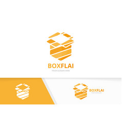 box and post logo combination package and vector image vector image