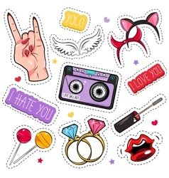 Comic Girlish Patches Set vector image