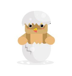 cute newborn owl bird character brown funny vector image vector image