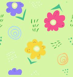 cute simple kids doodle flowers on green pattern vector image