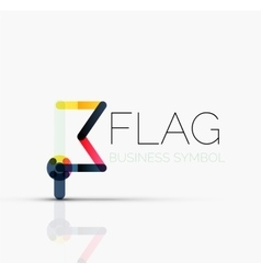 Logo flag abstract linear geometric business icon vector image vector image