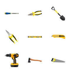 Realistic chisel spade electric screwdriver and vector