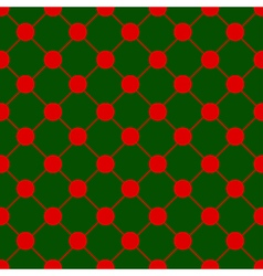 Red Polka dot Chess Board Grid Green Background vector image