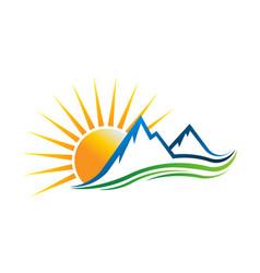 Sun mountains logo vector