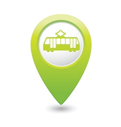tram icon green map pointer vector image vector image
