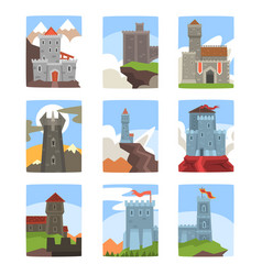 ancient castles and fortresses set medieval vector image