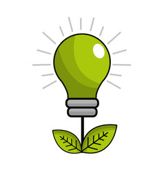green energy bulb with leaves icon vector image vector image