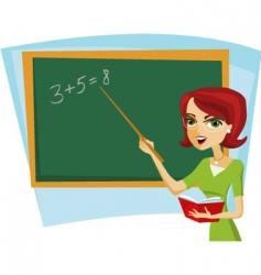 school teacher at blackboard vector image