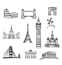 world famous city landmark sign travel location vector image