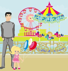 child playing on the carousel vector image