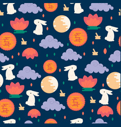 chinese mid autumn festival seamless pattern vector image vector image