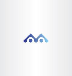 letter m blue logo sign element vector image
