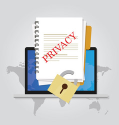 privacy online document locked data security vector image