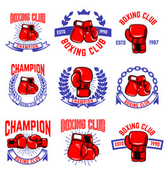 Set of boxing club emblems boxing gloves design vector